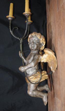 Sculpté italien Chérubin Chandeliers Chandelier Statue Putti