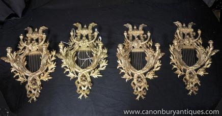 Set 4 Louis XV doré au mercure Appliques Appliques Appliques Candélabres