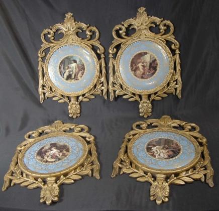 Set 4 français de porcelaine de Sèvres Plaques Plaques en bois doré Cadre