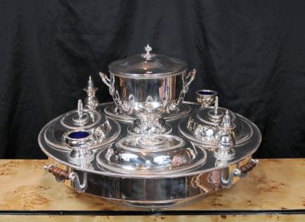 Sheffield Silver Plate Lazy Susan serveur Bain Marie Centrepiece Platter