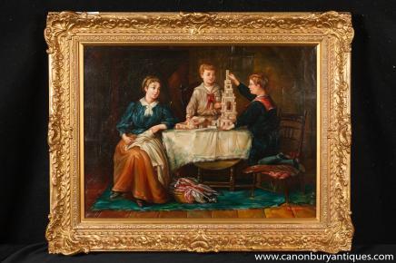 Signé néerlandais Portrait peinture à l'huile de famille cadre doré