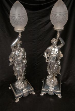 Silver Plate Gregoire Bronze Lampes torchères Signée