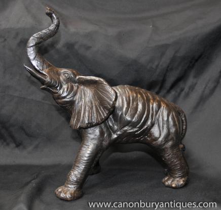 Statue en bronze de charge Éléphant d'Afrique éléphants Animal Art
