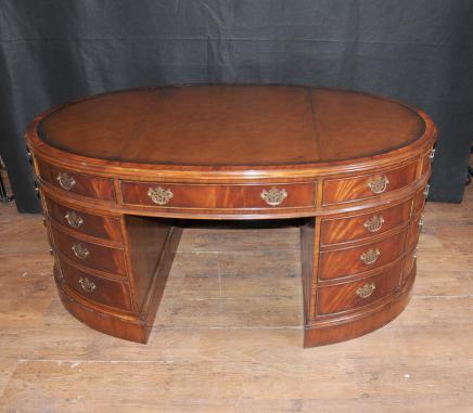 Victorienne Partenaires bureau ovale en acajou pupitres tableau meubles