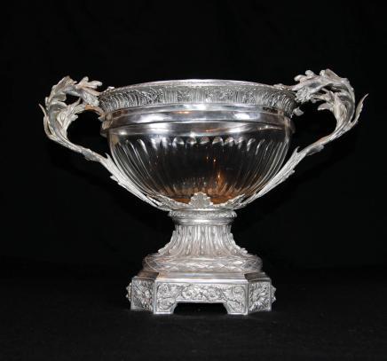 Victorienne Sheffield Silver Plate Soupière Cut Glass Bowl Centrepiece