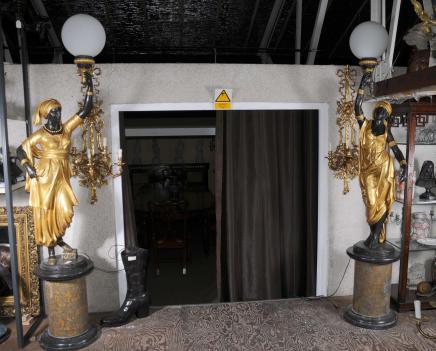 XL Bronze Femme Nègre torchères Lampes architecture Statue français