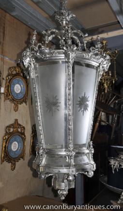 XL Empire français Silver Plate Lanterne Lustre Architetural