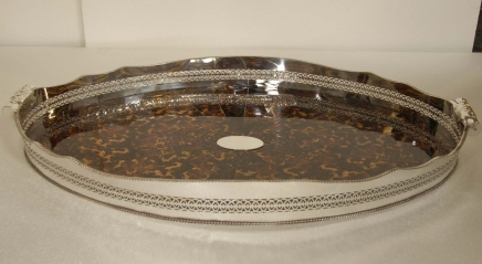 XL Faux Tortoise Shell Silverplate Butlers Tray Plateau