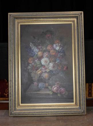 XL néerlandais Peinture à l'huile toujours la vie florale cadre doré Fleurs
