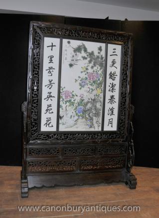 Antique main de Division de l'écran chinoise en porcelaine peinte Plaque