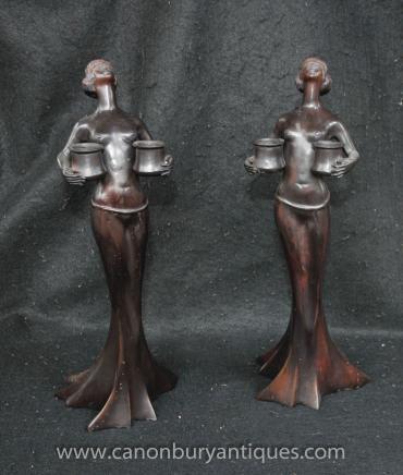 Paire français Bronze Art Nouveau Femme Candélabres Figurine Bougies