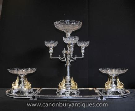 Victorienne Silver Plate Epergen Centrepiece Gilt Swan Dish Bowl