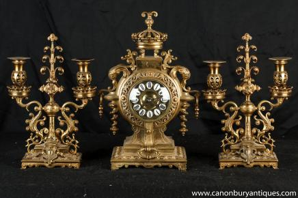 Antique rococo français horloge Garniture Empire Candélabres