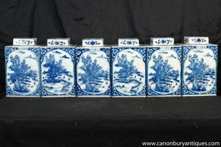 Réglez Ming Bleu Blanc Porcleain thé Cannisters Urnes Vases