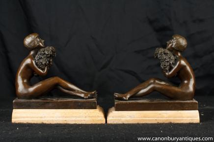 Statues Paire Art Déco Figurine Bookends Bronze signé