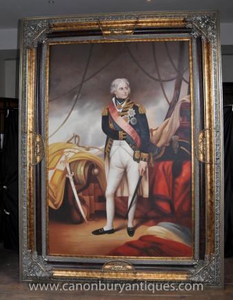 Géant Peinture à l'huile Portrait anglais Lord amiral Nelson
