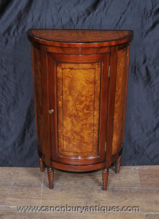 Regency Demi Lune Cabinet Chest Noyer Acajou