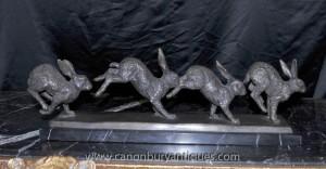 Anglais Bronze Les Lapins cours Statue Lapin Castings