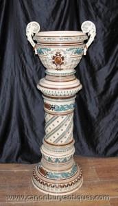Anglais majolique Porcelaine Jardinière usine Stand Column Pot