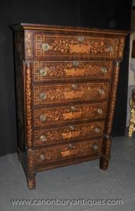 Antique 1820 néerlandais Marqueterie poitrine tiroirs grand garçon Inlay