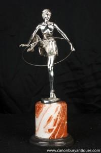 Art Déco Argent Bronze Hoop Dancer Statue Signé Alonzo