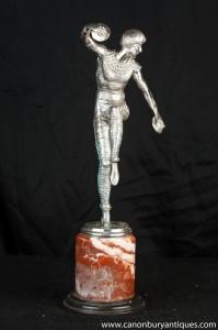 Art Déco Argent Bronze Russian Dancer Bronze Signé Chiparus
