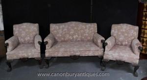 Canapé sculpté antique Chippendale Sofa Set Arm président Couch Sièges main