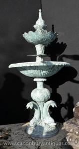 Caractéristique français Bronze Dolphin Serpent Fontaine Verdis Gris eau