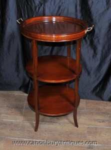 English Regency Side Table Plateau en verre garni tableaux Acajou