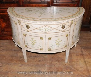 Français Louis XV peinte thoracique Demi Lune Cabinet Commode