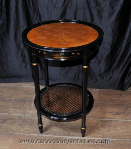 Français laque noire Side Cocktail Table Chinoiserie
