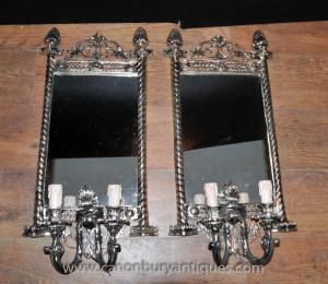 Française classique Argent Plate Girandole miroir Applique Applique Wall Light