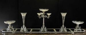 Grand victorienne Argent Plate Centrepiece épergne Cut Glas Vase Dish Bowl Dining Set
