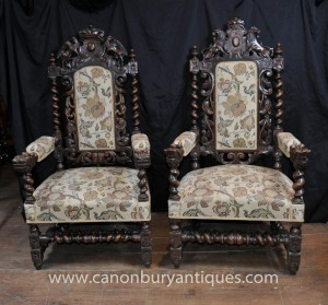 Pair Antique William Mary Oak fauteuils Thrones Barley Twist