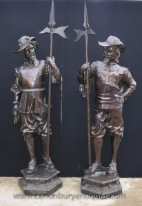 Paire Anglais Bronze Lifesize Cavaliers prince Charles I soldats