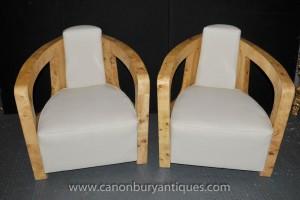 Paire Art Déco fauteuils club Arm président Vintage Blonde Noyer