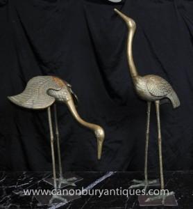 Paire Bronze Art Nouveau japonaise Grues français Ormolu Oiseaux Cigogne