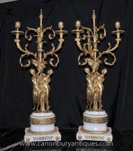 Paire Empire français Ormolu Maiden Candélabres Bougies de marbre