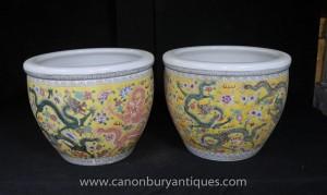 Paire chinoise Ming Porcleain dragon Planters Pots Poterie Céramique Jaune