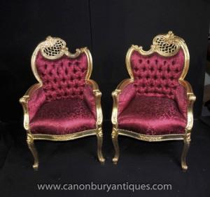 Paire doré Louis XV fauteuils fauteils Rose Tapisserie Chic
