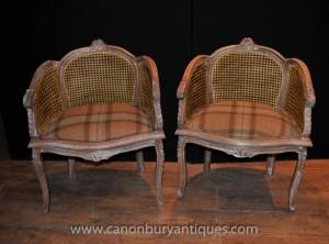 Paire française Regency fauteuils en rotin Bergere fauteils