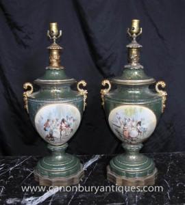 Paire française porcelaine de Sèvres Lamp Bases Lampes de Table Lumière