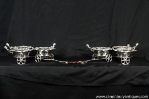 Paire victorienne Argent Plate Cherub Chariots Coasters boissons Coaster