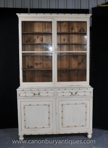 Peinte English Kitchen Dresser Bibliothèque vitré Cabinet