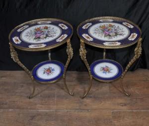 Porcelaine de Sèvres et bronze doré Tableau Side Floral Ormolu Céramique
