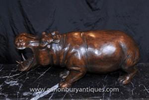 Sculpté à la main africaine Hippo Statue Hippopotamus Art Tribal
