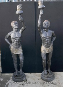 Statues Paire XL Italia Bronze Nègre Torch Maures architectural