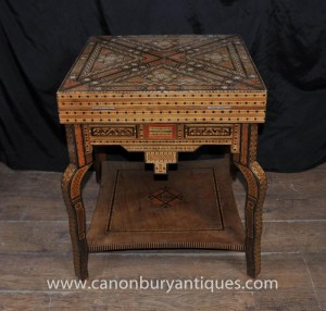 Tables Damasquin Jeux Antique Table d'appoint Backgammon Damas