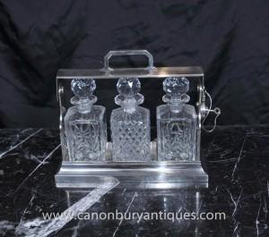 Victorienne Silver Plate Tantalus Set boissons bouteille de parfum 1920 Cut Glass