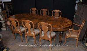 Anglais Noyer Dining Set Queen Anne et le tableau victorienne